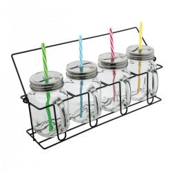 Sommerset aus 4 Gläsern mit Strohhalmen und Deckeln
